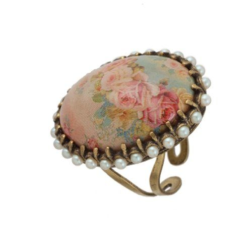 cool Michal Negrin Adjustable Ring with Vintage Flower Cameo Surrounded by Faux Pearl Swarovski Crystals