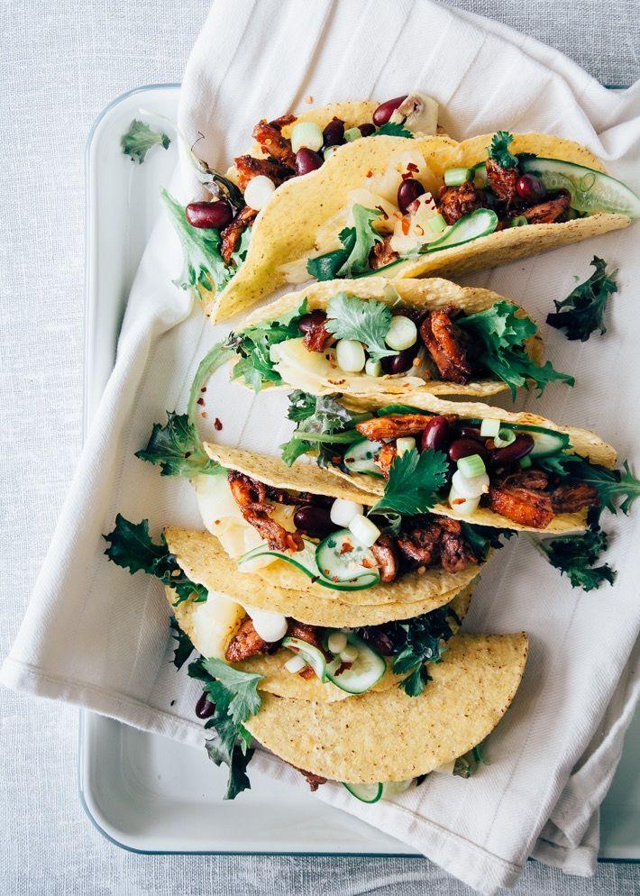 Taco recept met pulled kip en pickled ananas - Uit Pauline's Keuken