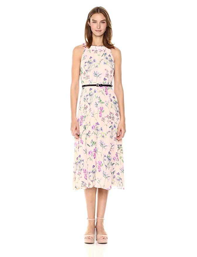 2d0a62a6c8f Tommy Hilfiger Women's Coin Toss Chiffon Long Dress, Powder Multi, 14