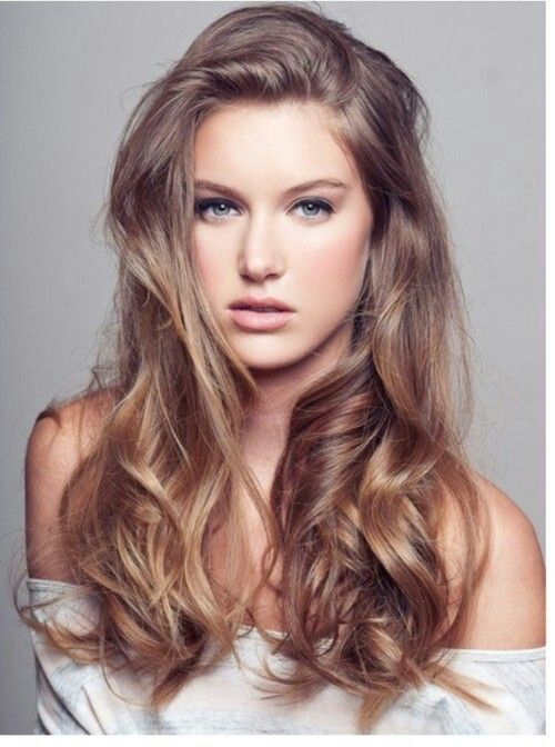 light ash brown hair color. long hair. layers. simple, natural looking makeup. Love this hair color!!
