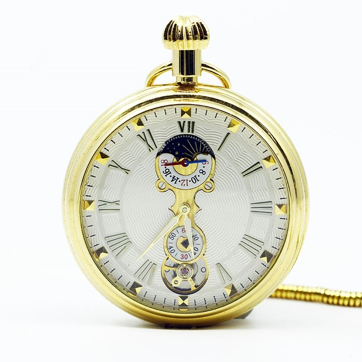29.70$  Buy here - http://aihg8.worlditems.win/all/product.php?id=32774489882 - Mechanical Hand Wind Gold Pocket Watch Steampunk Roman Numbers Steel Fob Watches PJX1251