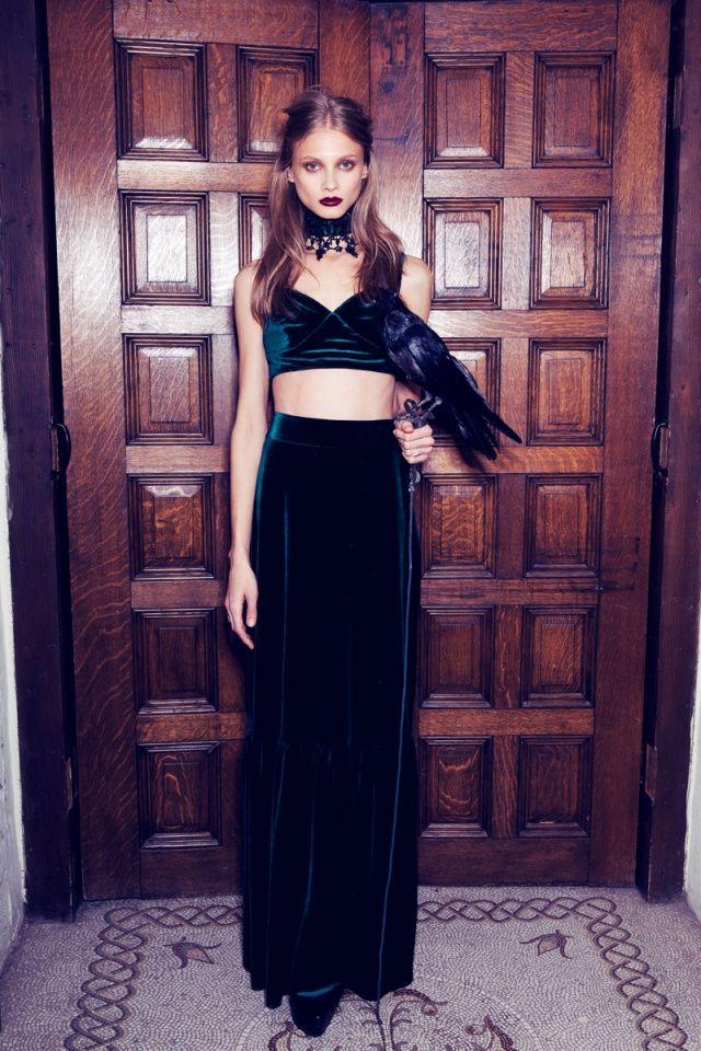 #AnnaSelezneva by #ZoeyGrossman for Love & Lemons Fall 2013, beautiful teal emerald velvet