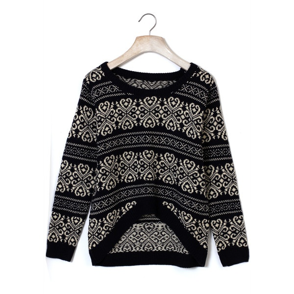 Vintage Pattern Black Knit Sweater ($50) ❤ liked on Polyvore