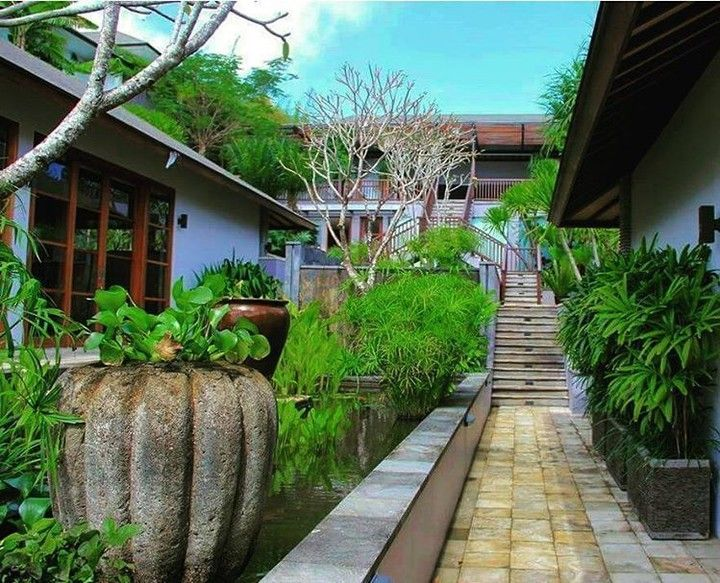 The central pond runs the length of the villa as a central axis to the cliff's edge and the view to the ocean. Water gives a cooling effect to the dry climate of the Ulawatu cliffs. By Bali Landscape Company http://ift.tt/1QzTwns  #ulawatu #pond #waterfeature #watergarden #pots #landscape #landscapedesigner #landscapearchitecture #gardenlovers #bali #taman #tropicaldesign #tropicallandscape #balilandscaper #landscape #landscapecontractor #landscape_review #gardenideas #landscapearchitect…