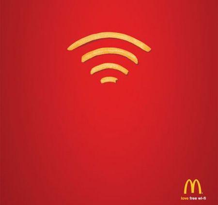 McDonalds Print Anzeige. 5 Informationseinheiten: BILD - LOGO - LOVE - FREE - WIFI