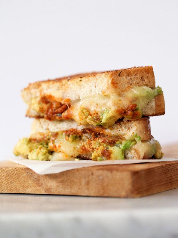 Garlicky Avocado Grilled Cheese with Tomato Pesto - foodiecrush