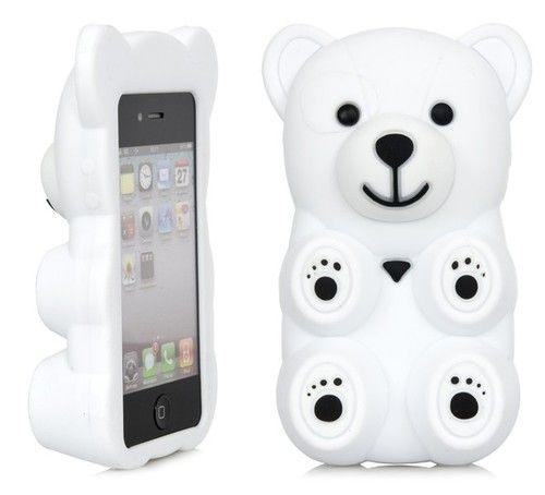 3D White Polar Bear Cute Cartoon Silicone Full Cover Case Apple iPhone 4 4S | eBay