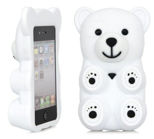 3D White Polar Bear Cute Cartoon Silicone Full Cover Case Apple iPhone 4 4S   eBay