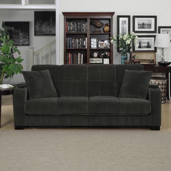 Portfolio Tevin Gray Velvet Convert A Couch Storage Arm