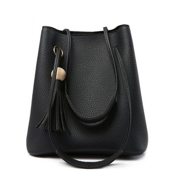 Magnetic Closure Tassels Metal Ring Shoulder Bag (84 PLN) ❤ liked on Polyvore featuring bags, handbags, shoulder bags, magnetic closure handbags, shoulder hand bags, tassel handbags, shoulder bag purse and tassel purse