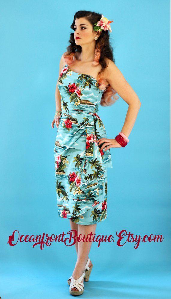 magasin d'usine 26009 086bb Robe hawaïenne robe Tiki robe Rockabilly Robe sarong Robe ...
