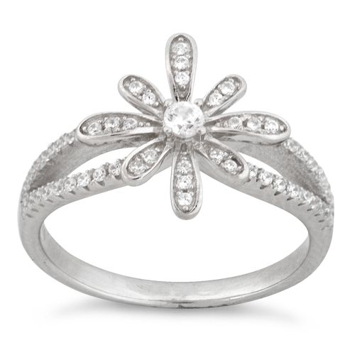 Sterling Silver Center Flower Pave CZ Ring