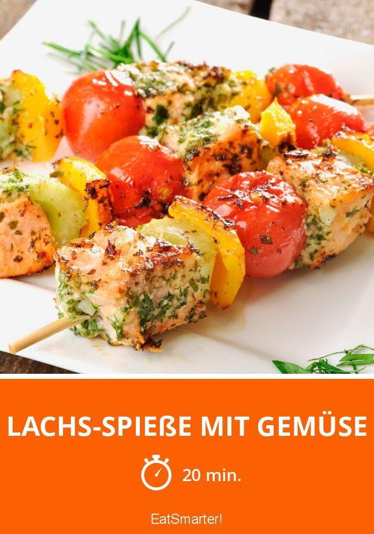 Lachs-Spieße mit Gemüse - smarter - Zeit: 20 Min. | eatsmarter.de