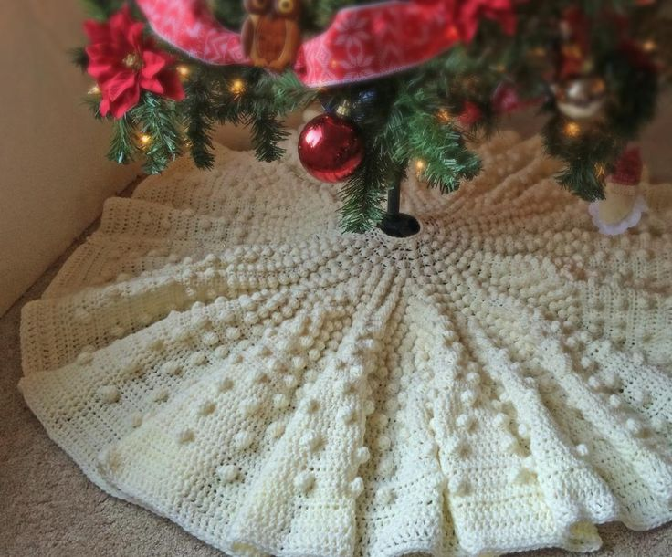 Looking for your next project? You're going to love Falling Snow Christmas Tree Skirt by designer Celsea Allred.