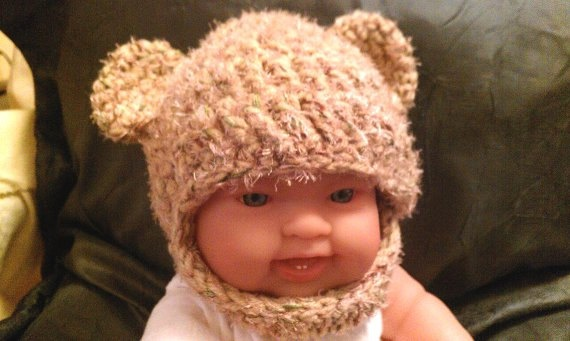 Crochet Newborn Sweet Brown Bear Hat  Photo Prop by PostsNPurls, $20.00