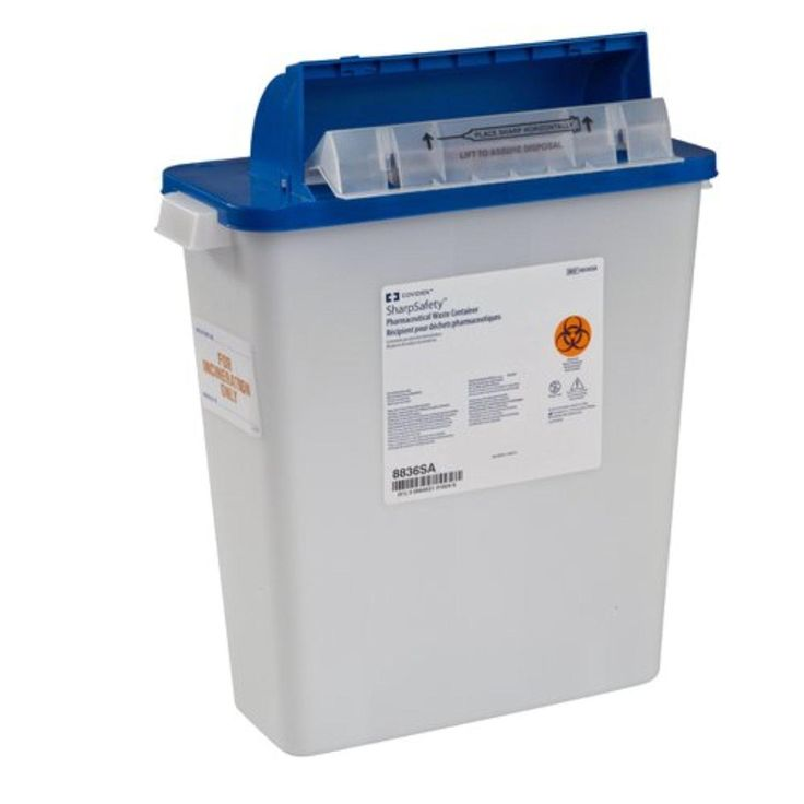 SharpSafety Pharmaceutical Waste Container, Counterbalance Lid, 3 Gallon (10 Per Case) - BMC-MON 64922800 - Brought to you by Avarsha.com
