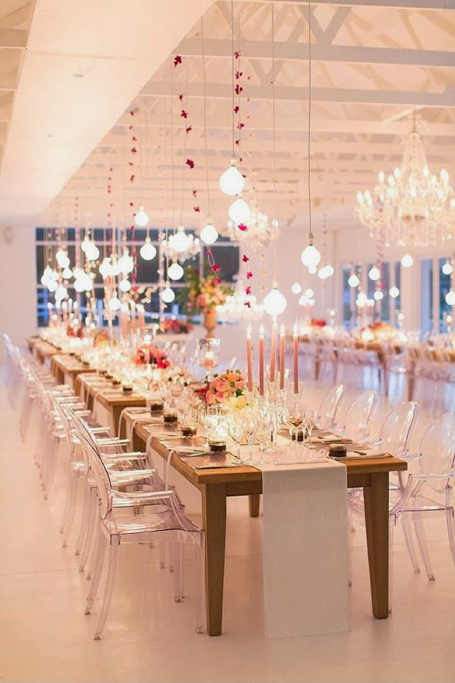 Ghost chairs with exposed long wood tables and simple table runners screams modern chic #wedding