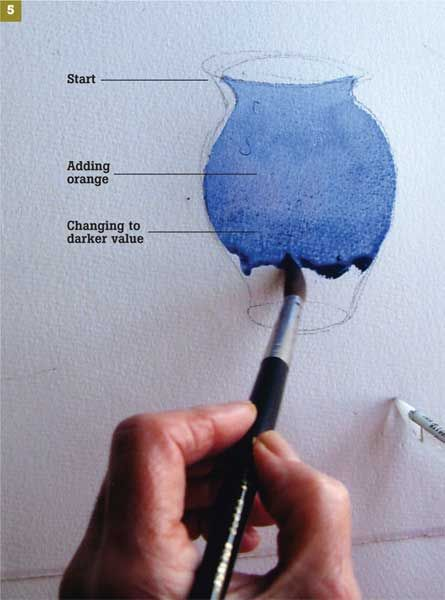 Watercolor: Excellent!!! lesson on painting leaves, flowers, getting shading correct in a floral arrangement & the vase.