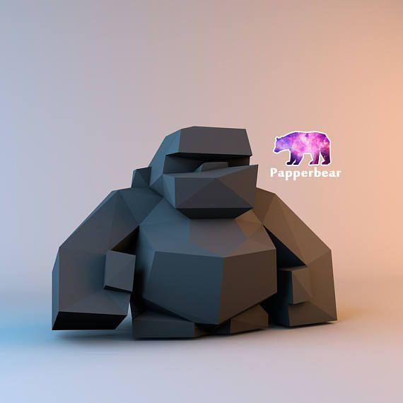 Low poly gorilla monkey porpoising model printable DIY pdf