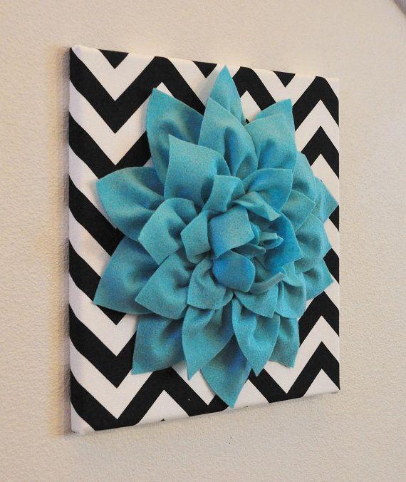 "Aqua Wall Flower -Turquoise Dahlia on Black and White Chevron 12 x12"" Canvas Wall Art- Baby Nursery Wall Decor-"