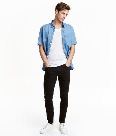 Twill Pants Skinny fit   Black   Men   H&M US