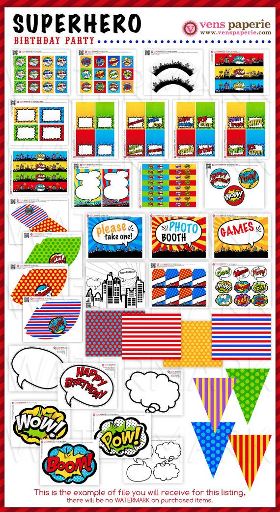 YES! Superhero Birthday Party Package Personalized FULL Collection
