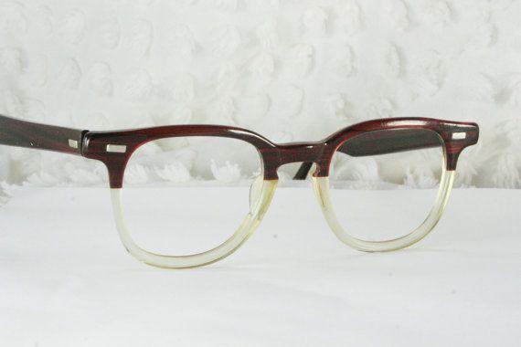 Classic Eyeglasses Frames Mens : 60s Mens Glasses 1960s Browline Eyeglasses Red Burgundy ...