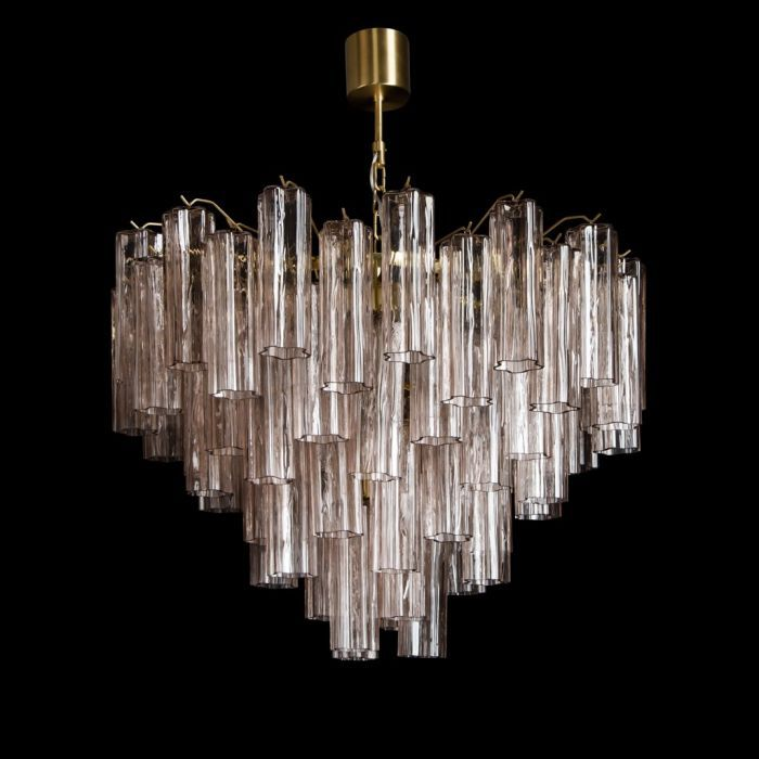 Three Tier Murano Glass Tube Chandelier 48 Pink Glasses, Mid