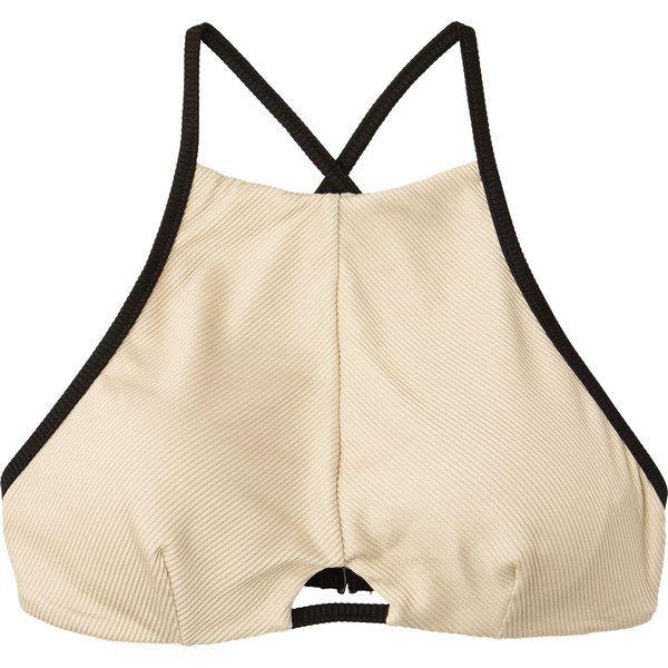 RVCA Women's Frothy Bralette Swim Top ($49) ❤ liked on Polyvore featuring swimwear, bikinis, bikini tops, nude, strappy bikini top, bralette bikini, cross back bikini top, rvca bikini and high neck bikini