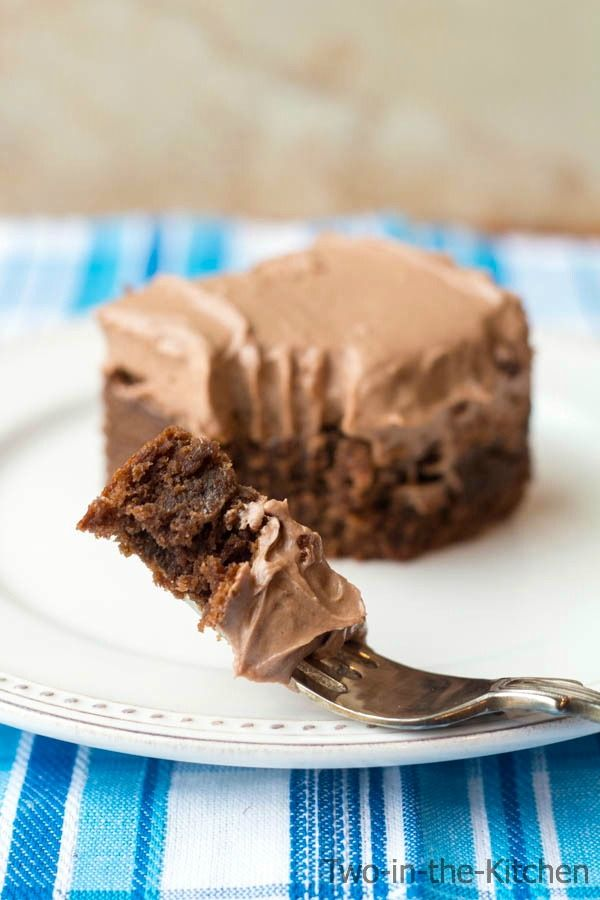 Chocolate Cream Cheese Frosted Thick and Chewy Brownies | Two in the Kitchen