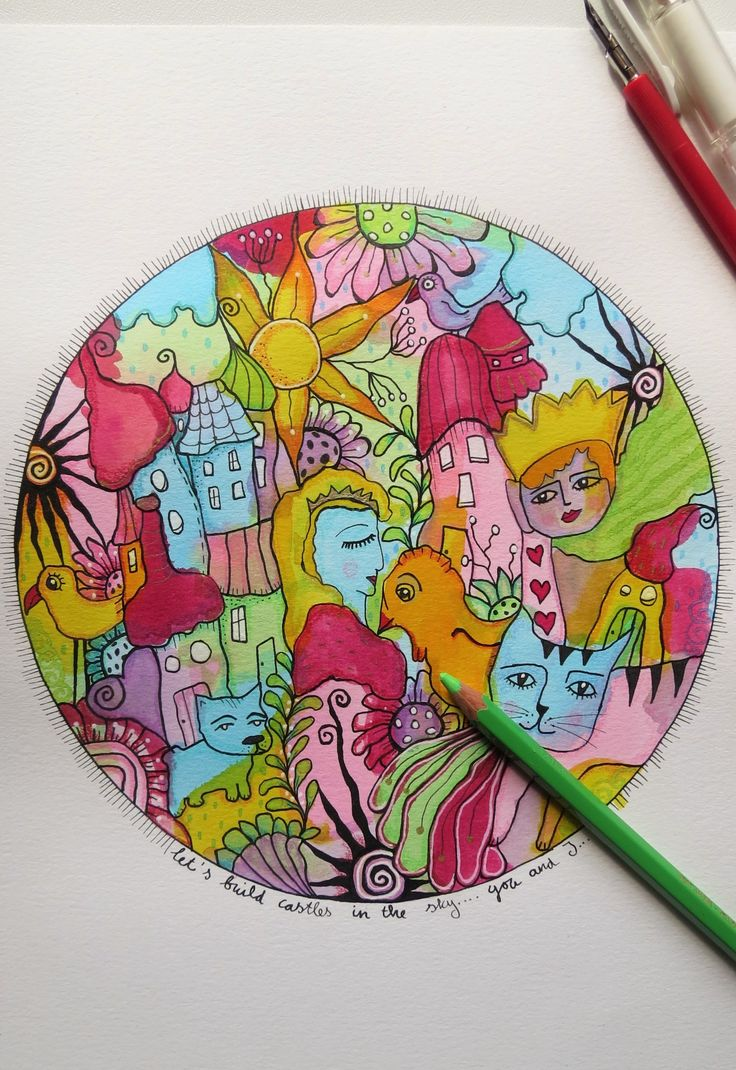 Doodling and coloring in a circle...
