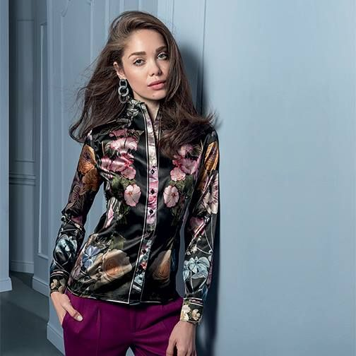 Floral satin shirt #NaraCamicie #Nara #Collection #Winter #Autumn #Elegant #Fashion #Clothes #Style #Class