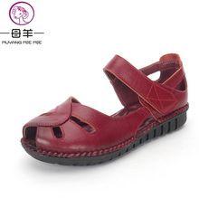 Letné topánky Žena pravá koža Soft podošva otvorené črievičky pre voľný čas ploché topánky Ženy 2017 Nové módne Ženy Sandále (Čína (pevninská časť))