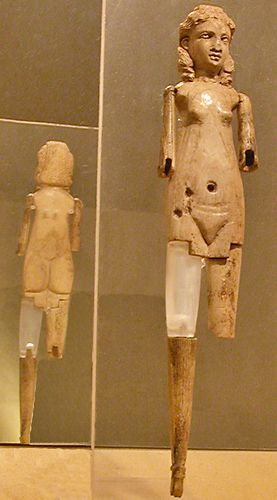 Ivory doll with articulated limbs and an anatomically correct female body. From an underground tomb on the Via di Tor Cervara. 3rd century CE. Rome, Olearia.