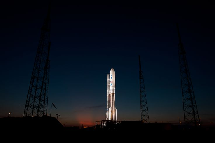 An Atlas V rocket with NASA's Juno spacecraft payload is seen the evening before it's planned launch at Space Launch Complex 41 of the Cape Canaveral Air Force Station in Florida on Thursday August 4 2011. The Juno spacecraft will make a five-year 400-million-mile voyage to Jupiter. [5183 x 3456]