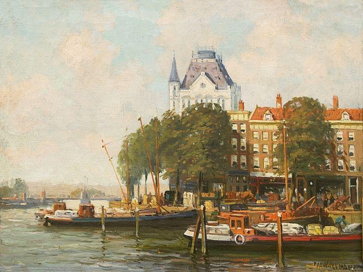 P.J.A. Wagemans (1879~1955). Gezicht op het Witte Huis, Rotterdam