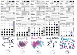 """artkind:   !!!EDIT!!!oopsies i forgot to include the advanced settings for the crayon tool"""", , oops u-u (im reposting this from my main!) (click for full.) ANYWAYS SO YEAH THOSE ARE THE BRUSHES I USUALLY USE?? ill type up a little bit about each (also not shown here is the binary tool which i use for pixelling!! its pretty"""", basic though i dont really have any special settings for it or anything + the blur tool which ive edited and i meaN if anyone wants it later i can like. make something…"""
