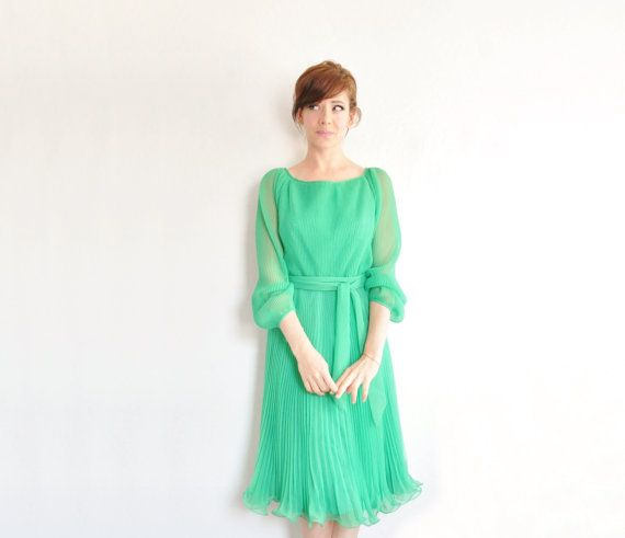 accordion pleated kelly green dress . sheer 1970 cocktail party wear with sash .small .sale