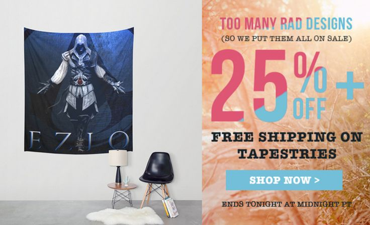 25% Off + Free Worldwide Shipping on Wall Tapestries - Sale Ends Tonight at Midnight PT! Ezio Auditore Wall Tapestry. #discount #gifts #sales #save #walltapestry #freeshipping #homedecor #gaming #gamersroom #gamergifts #gamer #games #assassinscreedgifts #assassinscreedwalltapestry #giftsforher #giftsforhim #society6 #ezioauditore #eziotapestry #homedecor #homegifts