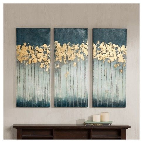 Midnight Forest Gel Coat Canvas with Gold Foil Embellishment 3 Piece Set, Blue