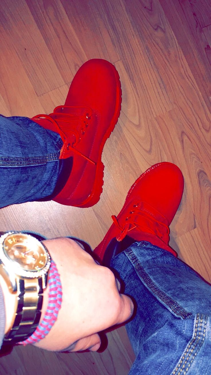 Custom designed all red Timberlands #timberlands #shoes #winter #boots