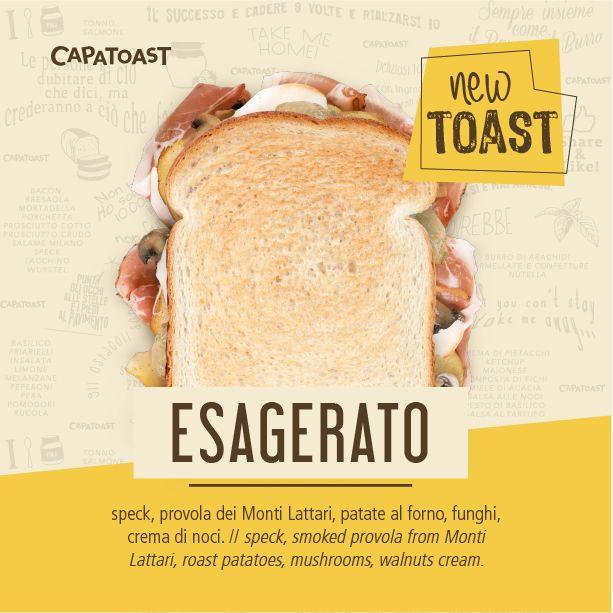 Da Capatoast sono arrivati nuovi Toast! 😮 Tra questi c'è l'ESAGERATO farcito con speck, provola dei Monti Lattari, patate al forno, funghi, crema di noci. Esageratamente buono! 🍞❤