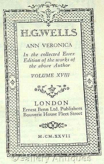 Vintage H G Wells - Ann Veronica - Collected Essex Edition -- Volume XVIII - Hardback sci fi Book Published in 1927 by #GalleryAntiques
