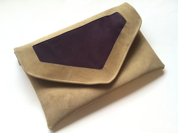 Distressed Beige and Grape Purple Leather Envelope Bag