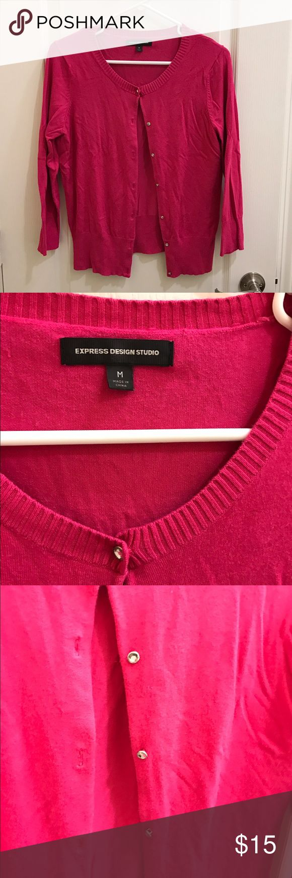 Express Bright Pink Cardigan Sweater Express Bright Pink Cardigan Sweater with rhinestone buttons. Size M. Good condition! Express Sweaters Cardigans