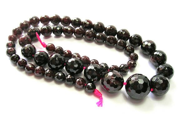 Natural Deep Red Garnet Graduated Faceted Round 5-13mm