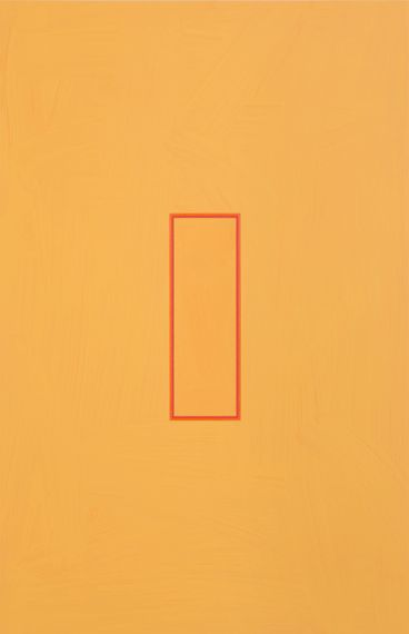 Beaux Arts Gallery - Luke Frost and Simon Allen  Luke Frost    Deep Orange and Pyrrole Red Volts   2014   Acrylic on Alumininum   27.5 x 18 inches (70 x 45 cm)