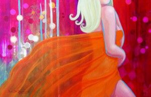"''TANGERINE SILK''  acrylic painting by Sonia Del Signore  The Romantic Soul of Sonia Del Signore-a ""window to her romantic soul,"" which ""celebrates love, beauty & serenity- through that,celebrates life itself."""