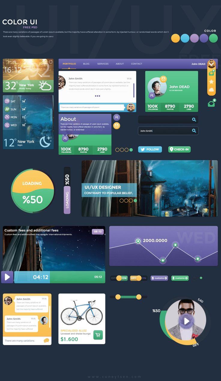 Color UI - #Free #Flat #UI PSD | #design #ux #mobile #web #stylish #inspiration