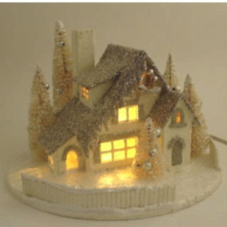 Lighted house.  See wonderful paper putz houses here.  Tutorials and links show you more.